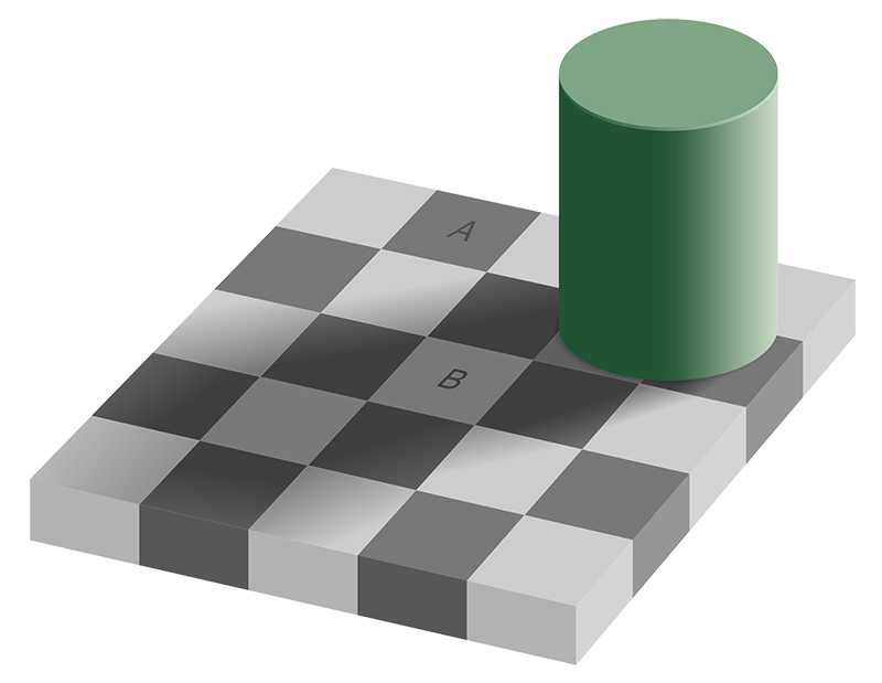Chessboard optical illusion
